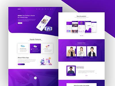 Mano-App Landing Page web ui type slack parallax layout landing hero design app