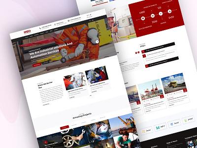 Red_Industrial_Template app design hero landing layout parallax slack type ui web