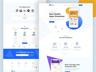 Mobile Apps Landing Page redesign app layout landing typography web design parallax branding illustration mobile app