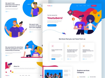 Youtube Web Landing Page landing redesign activity typography color creative clean branding mobile app illustration layout web design