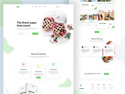 Food Snack Landing Page Design experiment interface uxui ux corporate clean branding typography redesign activity mobile app illustration layout parallax web design landing