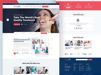 Dentist Web Template Design medical web template psd template design branding typography activity illustration redesign parallax web design design landing