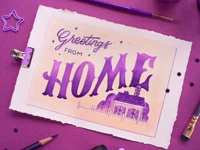 HOME –Peachtober Challenge 2020 watercolor painting painting watercolour peachtober peachtober20 watercolor design illustration hand drawn custom type type lettering typography