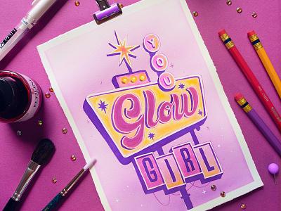 GLOW –Peachtober Challenge 2020 watercolor painting watercolor art watercolor illustration watercolour watercolor peachtober20 peachtober type lettering illustration hand drawn custom type design typography