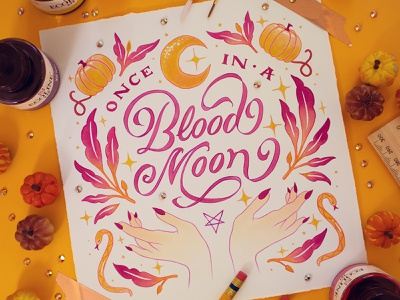 MOON –Peachtober Challenge 2020 hand lettering art watercolor painting watercolor illustration watercolor art watercolour watercolor peachtober20 peachtober hand lettering illustration design hand drawn custom type type lettering typography