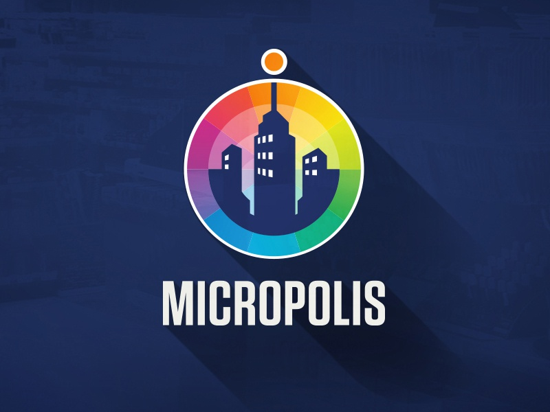 Micropolis – Rebrand skyscraper city buildings colour wheel stationery raibow logo logotype computing