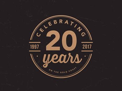 Celebrating 20 Years custom logo australia gold coast emblem logo badge icon