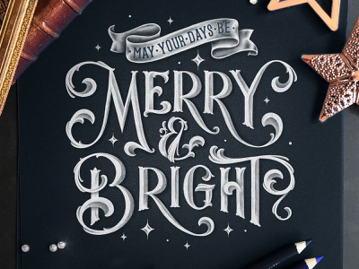 Merry & Bright logo chalk typography sketches type chalk hand drawn custom type calligraphy lettering typography
