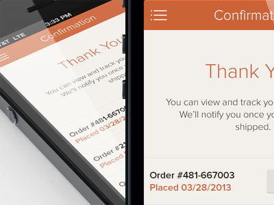 iOS Mobile Shopping Cart - Confirmation Screen ios flat ecommerce