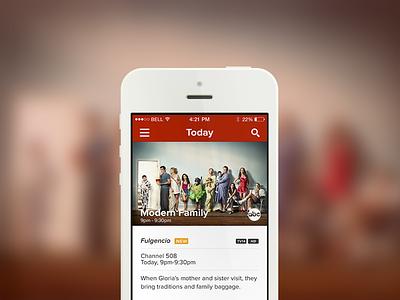 TV Programming App - iOS 7 Update ios7 ios 7 blur ios iphone retina proxima nova stack nav mobile app