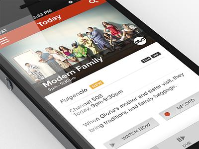 TV Guide/DVR/Remote App ios iphone tv clean app ui mobile flat ux