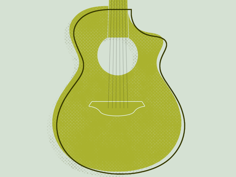 Took up the guitar! guitar illustration