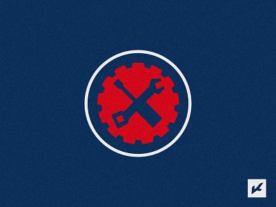 "Alternative logo for factory sports team ""CRMO-1"" screwdriver emblem factory logo logotype sport cogwheel team wrench gear"