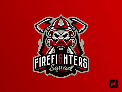 Fireman's logotype helmet axe fireman firefighter skull mascot team emblem sport logo