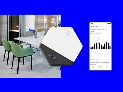 Beringar Device and App render mockup design physical digital software hardware device green dataviz sensors data android ios app studio workplace future workspace office beringar
