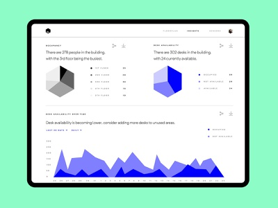 Beringar Dashboard occupancy hexagon android ios connected workspace office beringar blue green responsive design ui dashboard