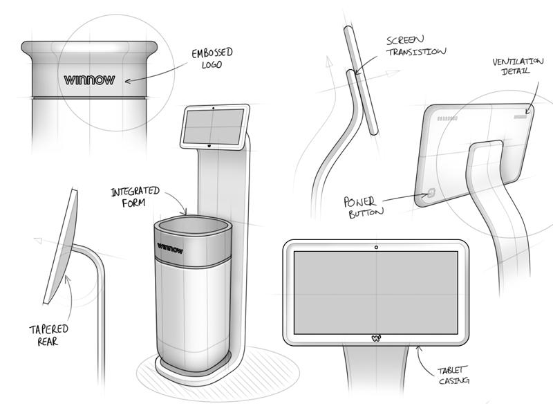 Winnow kitchen physical ventures iot chef waste food industrial design interaction sketch winnow