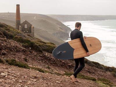 Tide x Otter tom blake hollow matte black surf wooden surfboard craft handmade cornwall surfboard wood otter tide