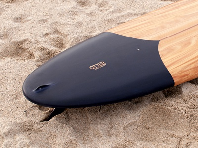 Tide X Otter Tail Detail tom blake tail matte black surf wooden surfboard craft handmade cornwall surfboard wood otter tide