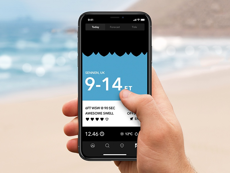Tide iPhone X Dribbble iphonex beach gesture app surf forecast waves design update tide ios ios11