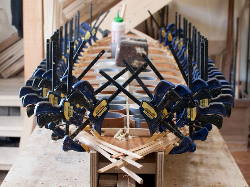 Surfboard Construction clamps process workshop cornwall tide surf wood cedar rails surfboard wooden handmade