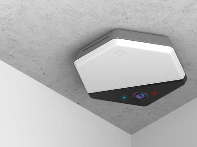 Beringar isometric keyshot render hexagon sensor spaces startup industrial design hardware iot beringar