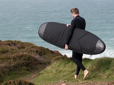 Dribbble Board Bag tailored surfboard wooden handmade board bag blackonblack recycled soft goods bag board design tide surf