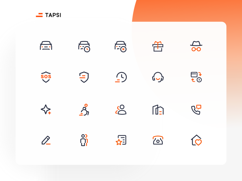 Tapsi Icons iconography car taxi iconset icon set icon design icons pack icons set icondesign icons branding logo illustrator ui icon vector minimal flat illustration design