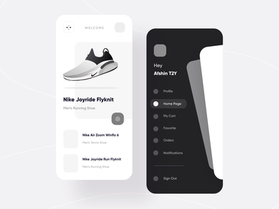 Nipo Shop | UI Kit mobile e-commerce sidemenu menu ecommerce shop fashion nike adidas shoe shoes ui vector minimal icon app ux flat illustration design