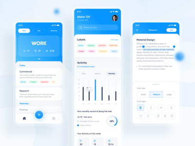 Minidify App UI notebooks tag category blue write notebook todolist task notes note app ux typography ui vector icon minimal flat illustration design