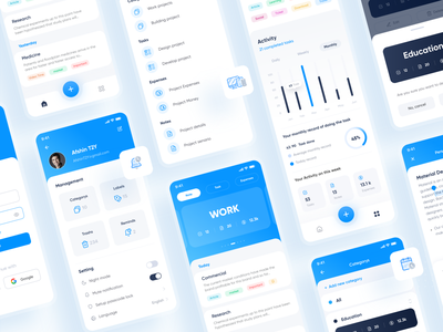Mindify App cards tag chart search home calendar task notes note app website art ux ui vector icon minimal flat illustration design