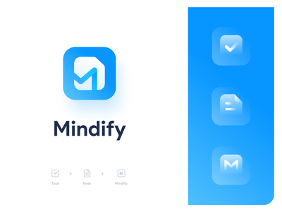 Mindify Logo notebooks blue identitydesign notebook expense tasks task notes note branding identity logo illustrator vector icon minimal flat illustration design