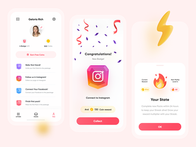 Peekage App prizes reward profile tags medal instagram badge tag identity ux illustrator ui vector icon minimal flat illustration design