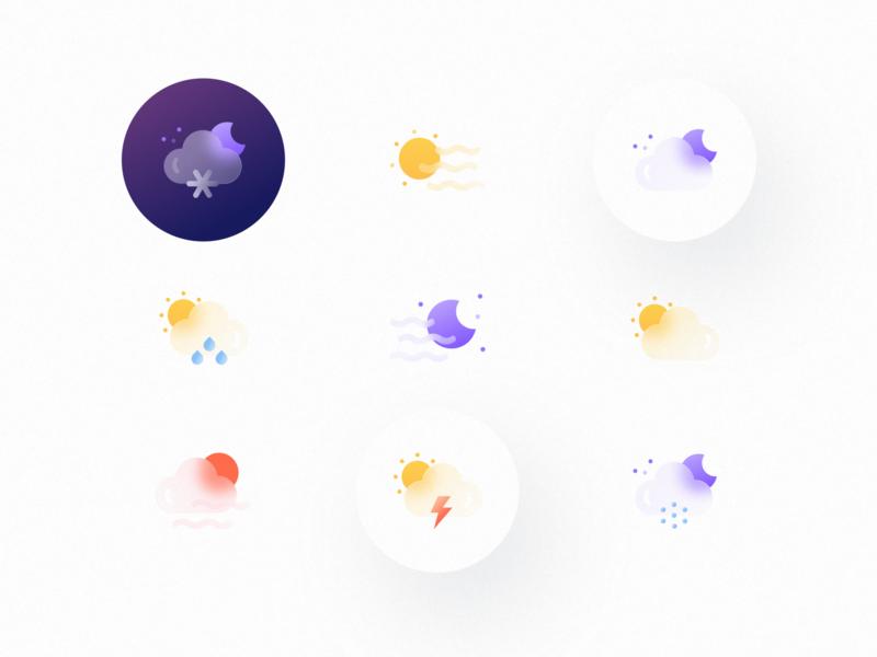 Weatherly Icons | Glass icons set icons moon cloud rain sun snow weather icons weather icon weather website app illustrator ui vector icon minimal flat illustration design
