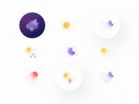 Weatherly Icons   Glass icons set icons moon cloud rain sun snow weather icons weather icon weather website app illustrator ui vector icon minimal flat illustration design