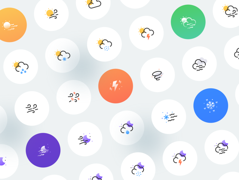 Weatherly Icon Kit cloudy cloud moon sun rain rainy sunny weather icons weather icon weather ui illustrator vector icon minimal flat illustration design