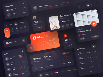 Freebie: Iconly 2 | Dark Component ui minimal upload dark download video team wallet crypto ticket status calendar graph chart dashboard ui call component profile