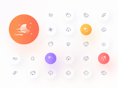 Weatherly Icons iconography star wind snow iconset icon design rainy rain sunny sun weather icons weather app weather icon weather icons icon minimal flat illustration design