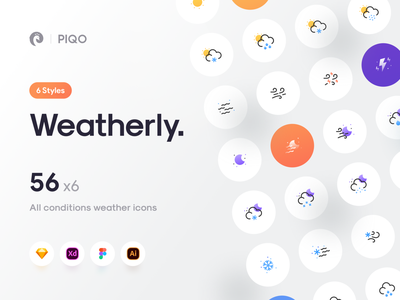 Weatherly Flat Icons snow moon wind cloud sun rain weather app icon set iconset icons weather icon weather illustrator vector icon minimal flat illustration design