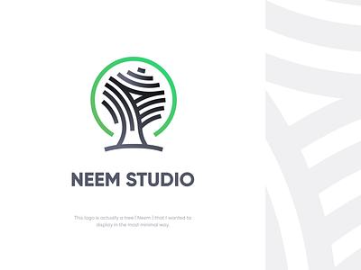 Neem Studio E1 tree logo logo design tree branding logo ui vector flat icon minimal illustration design