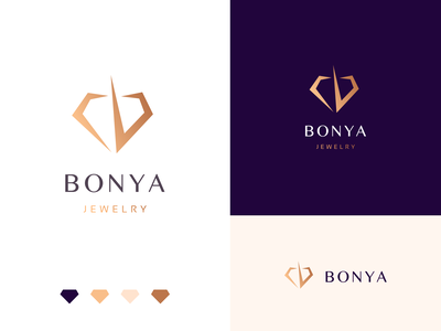 Bonya Jewelry Logo minimal cibook silver gold jewelrt logo jewelry diamond logo designer brandbook logo design icon illustration design branding vector logo