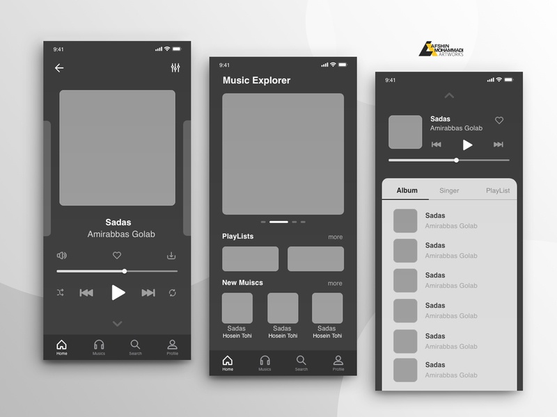 Wireframe app music audio music app music typography ux browse design ui