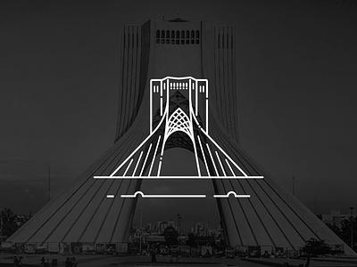 Azadi tower illustrator illustrate azadi tower freedom azadi persian tehran iranian iran logo minimal icon flat vector illustration design