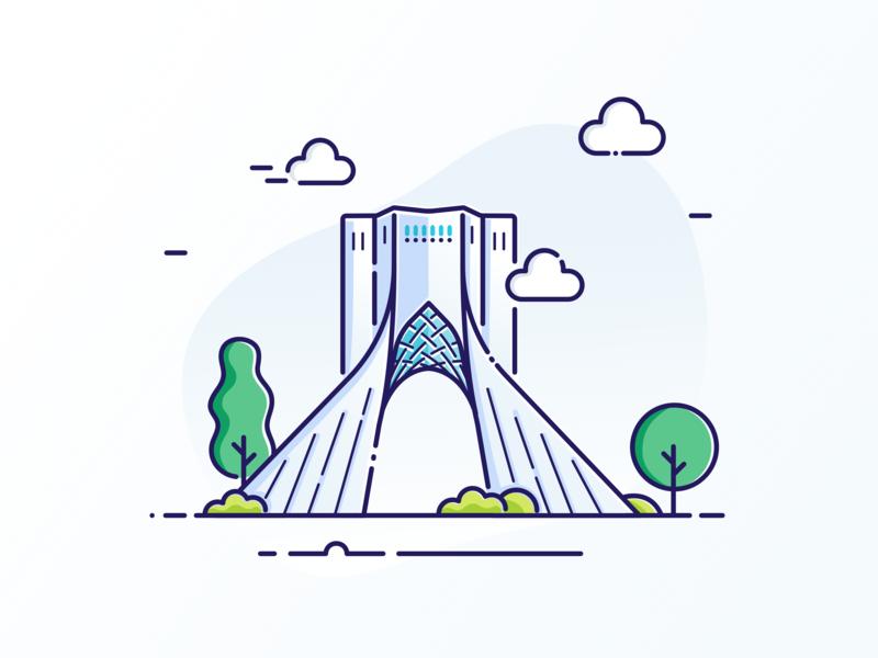 Azadi Tower illustrate art clean identity persian illustrate tehran iranian iran illustrator design branding logo minimal icon web flat vector illustration