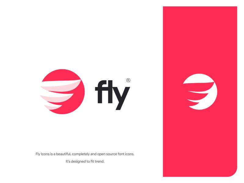 Fly icons logo fly art identity lettering illustrator branding logo web minimal icon flat vector illustration design