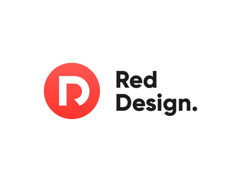 Red Design logo illustrator art clean identity creativity redesign red branding lettering type logo minimal icon flat vector illustration design