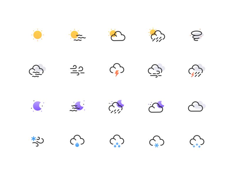 Weather icon set rain snow wind cloud sun moon illustraion illustrate set icon icons set icon set wheather icons logo minimal icon flat illustration design