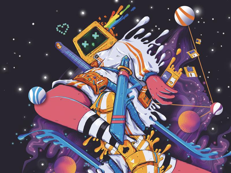 CyberDeck 01 katana samurai playing cards jack nebula star illustration liquid spade poker playing-card card cyber cyberpunk