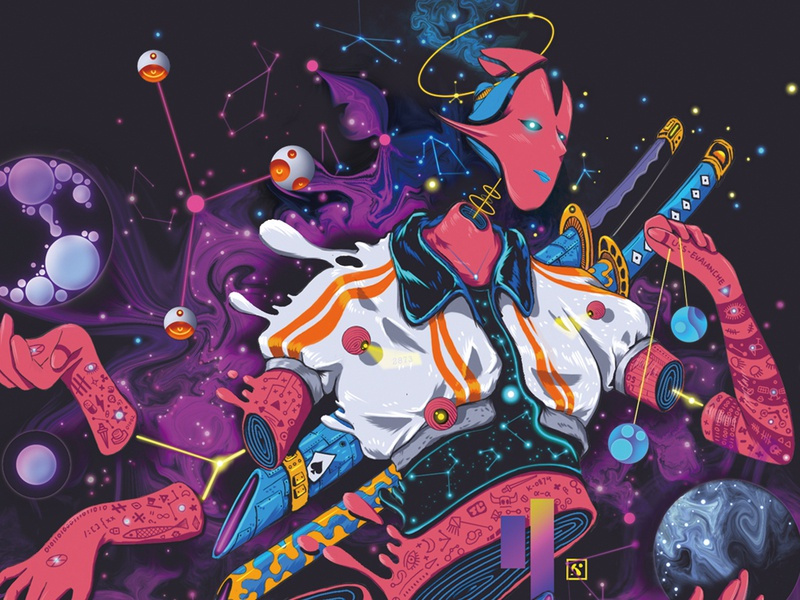 CyberDeck 02 universe cosmos planet body astral star nebula punk cyber cyberpunk cyber punk liquid queen poker playing-card card