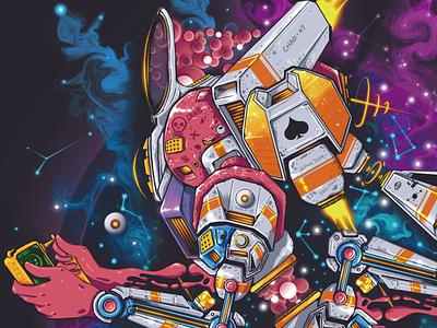 Cyberpunk 03 mechanic universe nebula cyber punk cyberpunk jet astronaut liquids abstract colors abstract abstract art liquid poker card playing-card
